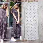 LOT SALE!! Dress3317 Street Fashion Maxi Dress ชุดเดรสยาว แขนสั้น คอกลม ผ้าคอตตอนเนื้อหนาสวยลายจุดดำพื้นสีขาว