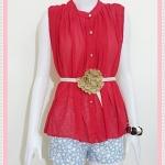 Blouse1808 เสื้อแฟชั่นไซส์ใหญ่ ผ้าชีฟอง คอจีน กระดุมหน้า แถมเข็มขัดหนังหัวดอกไม้ สีพื้นแดง