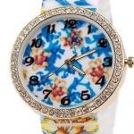 นาฬิกาข้อมือผู้หญิง นาฬิกาแฟชั่น สำหรับคนชอบสะสม นาฬิกาข้อมือ สาย Silicone อย่างดี หน้าปัด ล้อมเพชร คริสตัล ลายดอกไม้ สีฟ้า 829094_7