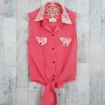 Blouse1694 เสื้อแฟชั่นคอปกเชิ้ตลูกไม้ ผูกเอว ผ้าฮานาโกะสีโอลด์โรส