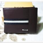 กระเป๋าสตางค์ผู้ชายหนังนิ่ม Bally สีน้ำตาลแถบดำ b10318