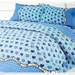 5 ฟุต 3 ชิ้น ชุดเครื่องนอน ผ้าปูที่นอน สีฟ้า ลายหัวใจ b006