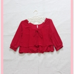 **สินค้าหมด blouse2041 เสื้อแฟชั่นไซส์ใหญ่ แขนสามส่วน โบว์อก ผ้าเด้งเนื้อดีสีแดง