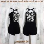 jumpsuit438 จัมพ์สูทขาสั้นผ้าสกินนี่ ซิปหลัง อกลายดอกไม้สีขาวดำ ตัดต่อกางเกงดำ