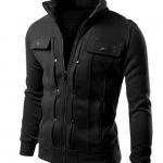 เสื้อ แจ็คเก็ต ผู้ชาย เสื้อแขนยาว เสื้อคลุม สีดำ ผ้าคอตต้อน ดีไซน์ ตีลายเส้น มีกระเป๋า บนหน้า 2 ข้าง เสื้อ Jacket ซิปหน้า แบบสวย 833858