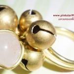 (ขายแล้วค่ะ) C014 แหวนทองเหลือง ประดับหินโรสควอตซ์