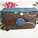 กระเป๋าใส่ดินสอ ใส่ของจุกจิก สีน้ำตาล ซิปฟ้า KP914