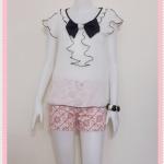**สินค้าหมด Sale!! blouse1621 เสื้อแฟชั่นน่ารัก คอโบว์ระบาย แขนระบาย ผ้าชีฟอง สีขาวครีม