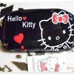 กระเป๋าใส่ดินสอ ใส่เงิน Kitty สีดำ ตัวขาว K003