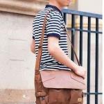 กระเป๋าสะพายข้าง ผู้ชาย แนวนอน หนัง Pu กันน้ำ ดีไซน์ คล้าย ถุงพับ สไตล์ วินเทจ ไม่เหมือนใคร ใช้งานทนทาน สีน้ำตาล ดำ และ กาแฟ 267556