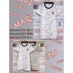 blouse3333 เสื้อยืดแฟชั่นน่ารัก อกปักรูปนก ผ้าคอตตอนเนื้อนิ่ม **เหลือสีครีมสีเดียว