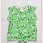 **สินค้าหมด blouse2114 เสื้อแฟชั่นน่ารักแขนกุดผูกเอว ผ้าชีฟองลายโบว์มิกกี้เม้าส์สีเขียว