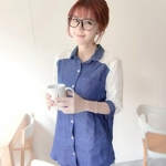 Best N Eve เสื้อ รุ่น Y-19B2 - Dark Blue Denim with White Sleeves
