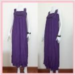 **สินค้าหมด dress2176 แม็กซี่เดรส/เดรสยาวแฟชั่น สายเดี่ยว แต่งกุหลาบผ้า ผ้านิ่มสีม่วง