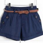 กางเกงขาสั้น ผู้หญิง กางเกงแฟชั่น กางเกงจับจีบ กางเกงขาสั้น แต่งกระดุม ที่ กระเป๋ากางเกง 2 ข้าง สีน้ำเงิน กรมท่า สุภาพ คลาสสิค 334841_2