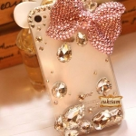 เพชรเม็ดใหญ่แต่งเคสใส Transparent iphone case pink bow สวยหวานวิ๊บวับน่ารักที่สุด ID: A219