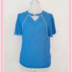 **สินค้าหมด Sale!! blouse1626 เสื้อแฟชั่นผ้าชีฟองสีพื้นปักมุกแขนระบาย สีน้ำเงิน
