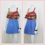 **สินค้าหมด Sale!! dress1956 เดรสแฟชั่น เสื้อชีฟองสายสปาเก็ตตี้ระบายอก ตัดต่อกระโปรงยีนส์นิ่ม โทนสีแดงเหลือง