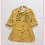 ** สินค้าหมด blouse2060 เสื้อเชิ้ตแฟชั่นไซส์ใหญ่ คอปก แขนยาว กระดุมหน้า ผ้าชีฟองสกรีนลายตัวอักษรสีเหลืองมัสตาร์ด