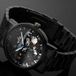 นาฬิกาข้อมือ Mechanical watch นาฬิกาโชว์กลไก นาฬิกาเปลือย สาย สแตนเลส สีดำ หน้าปัดคลาสสิค ไม่ต้องใส่ถ่าน 71342