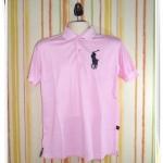 เสื้อโปโลผู้ชาย สีพื้น Ralph สีชมพูอ่อน เสื้อคอปก 42018