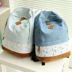 กระเป๋าเป้ กระเป๋าสะพายหลัง วัยรุ่น กระเป๋ายีนส์ สะพายหลัง ใส่เสื้อผ้า หนังสือ น่ารัก มาก ๆ ติดลายลูกไม้ สีขาว หวาน ๆ สะพายไปเที่ยว ไปเรียน 351374