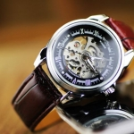 นาฬิกาโชว์กลไก นาฬิกาข้อมือเปลือย นาฬิกาข้อมือผู้ชาย ไม่ต้องใส่ถ่าน สายหนังแท้ สีดำ สีน้ำตาล แนว Sport ของขวัญให้แฟน สุดหรู 576030