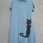เสื้อยืดตัวยาวลายแมว