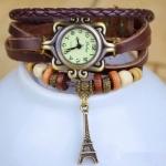 นาฬิกาข้อมือ ผู้หญิง สายหนังถัก สไตล์สร้อยข้อมือ วินเทจ สีน้ำตาล ห้อย ตุ้งติ้ง หอไอเฟล กรุงปารีส no 76509
