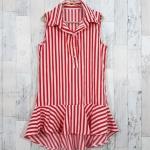 SALE!! dress3420 ชุดเดรสน่ารักคอปกเชิ้ตทรงหางปลา หน้าสั้นหลังยาว ผ้าไหมอิตาลีเนื้อนิ่มลายริ้วใหญ่ สีขาวแดง