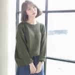 Sweater เสื้อสเวทเตอร์แขนยาว สีเขียวขี้ม้า ทรงสวย จะใส่เดี่ยวไหรือใส่โค้ทคลุมก็เริ่ด