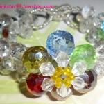 (ขายแล้วคะ) L04 สร้อยข้อมือถักรูปดอกไม้ หลายสี คริสตัลโมดาร์
