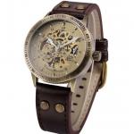 นาฬิกาข้อมือ โชว์กลไก Mechanical watch สายหนังแท้ นาฬิกาข้อมือ ไขลาน สายหนังแท้ สไตล์วินเทจ เหมาะสำหรับ คนแพ้สายโลหะ 471435