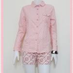 **สินค้าหมด Sale!! blouse1534 เสื้อเชิ้ตแฟชั่น คอปก กระดุมหน้า แขนยาว ผ้าคอตตอนลายจุดสีชมพูพาสเทล