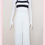 **สินค้าหมด set_bp546 ชุดเซ็ทผ้ายืดเนื้อดี เสื้อสั้นสายสปาเก็ตตี้ลายขวางขาวดำ+กางเกงขายาวเอวยืดผ่าหน้าสีขาว