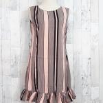 SALE!! dress3507 ชุดเดรสน่ารัก แต่งโบว์ด้านหลัง ชายระบาย ผ้าไหมอิตาลีเนื้อนิ่มลายริ้ว สีชมพู
