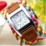 นาฬิกาข้อมือผู้หญิง สายหนังถัก งาน Handmade สไตล์วินเทจ นาฬิกาข้อมือ แฟชั่นเก๋ ๆ ใช้หนังผสมเชือกถัก สีน้ำตาล ผสม ชมพู ของขวัญให้แฟน สุดเก๋ no 201419_6