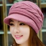 หมวกแฟชั่น หมวกไหมพรมถัก สำหรับผู้หญิง หมวกไหมพรม ใส่เที่ยว ใส่กันแดด กันร้อน สวยใส สไตล์วัยรุ่น สีชมพูอ่อน 92518_2