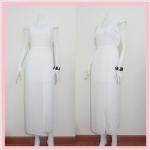**สินค้าหมด dress2213 แม็กซี่เดรส/เดรสยาวแฟชั่น คอวี แขนกุดจับจีบบ่า กระโปรงผ่าข้าง ผ้าชีฟองสีขาวครีม