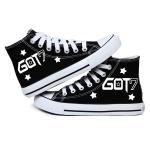 Preorder รองเท้าผ้าใบ Got7 สีดำ ส้นเรียบ
