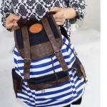 กระเป๋าเป้ กระเป๋าสะพายหลัง Back Pack ผ้าแคนวาส อย่างดี ดีไซน์ เป็นแบบหูรูด หมดปัญหา ซิปแตก รูดยาก กระเป๋าสะพาย ใส่เสื้อผ้า เที่ยวทะเล ลายทาง สวย ๆ 286371