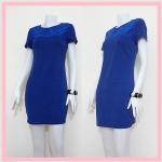 **สินค้าหมด dress2118 เดรสแฟชั่นงานแพลตตินั่ม ผ้ายืดเนื้อดี อกปักลายดอกไม้ แขนสั้น ซิปหลัง สีน้ำเงิน