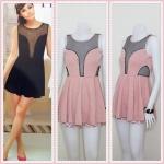**สินค้าหมด dress1848 เดรสแฟชั่นผ้าเนื้อดี อกเว้าซีทรู สีชมพูกะปิ