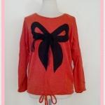 **สินค้าหมด Sale!! blouse1700 เสื้อแฟชั่นไซส์ใหญ่ผ้าไหมพรมบาง อกลายโบว์ แขนยาว ชายรูด สีส้มอิฐ