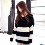 B&W Sweater เสื้อไหมพรมลายขวาง ขาวดำ ผ้าดี พร้อมส่ง