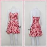 **สินค้าหมด dress2240 เดรสแฟชั่นเกาะอกเสริมฟองน้ำบาง ซิปหลัง เว้าเอว ผ้าฮานาโกะลายแตงโมใหญ่ สีชมพู