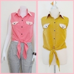 **สินค้าหมด Sale!! blouse1695 เสื้อแฟชั่นผ้าไหมอิตาลี คอปกเชิ้ตลูกไม้ ผูกเอว สีเหลืองมะนาว รอบอก 36 นิ้ว