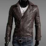 เสื้อ แจ็คเก็ตหนัง แบบ สลิม ฟิต Jacket ผู้ชาย แบบพอดีตัว เสื้อคลุมแขนยาวผู้ชาย เสื้อคลุมหนัง คอปก เปิด ซิปหน้า สีน้ำตาล 902206_1