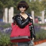กระเป๋าสะพายข้างผู้หญิง กระเป๋าถือทรงถุง ผ้าแคนวาส ใส่ของได้เยอะ กระเป๋าใส่เสื้อผ้าได้ ใส่หนังสือเรียน ตกแต่งหนังแท้ สีแดงสด สาวมั่น 894266_5