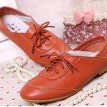 รองเท้าหุ้มส้น ผู้หญิง รองเท้าหนังแท้ ใส่ทำงาน ใส่เที่ยว ก็เท่ได้ ดีไซน์ เชือกผูกด้านหน้า พื้นยาง อย่างดี สินค้าลดราคาพิเศษ สีส้ม 302114_3